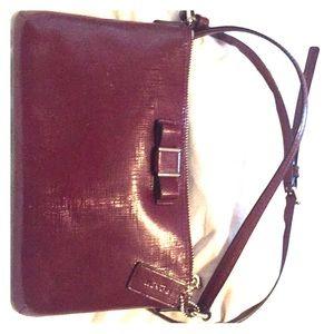 Red COACH Crossbody Handbag with Bow Detail